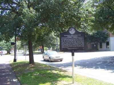 Savannah's African-American Medical Pioneers Marker, looking east at Liberty and Montgomery Sts. image. Click for full size.