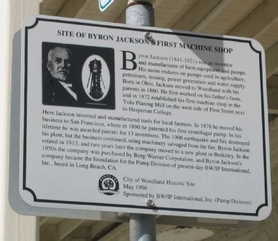 Site of Byron Jackson's First Machine Shop Marker image. Click for full size.