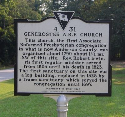 Generostee A.R.P. Church Marker - Front image. Click for full size.