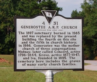 Generostee A.R.P. Church Marker - Reverse image. Click for full size.
