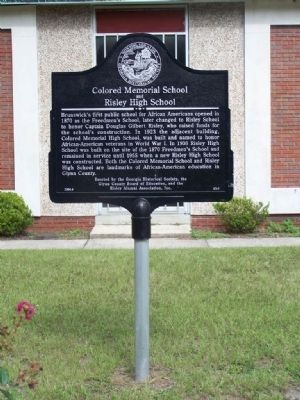 Colored Memorial School and Risley High School Marker image. Click for full size.