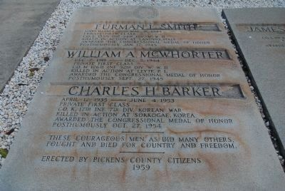 Pickens County Veterans Memorial Marker - Left Marker image. Click for full size.