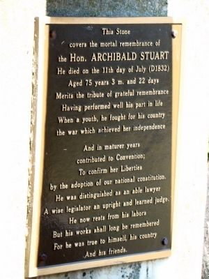 The Hon. Archibald Stuart Marker image. Click for full size.
