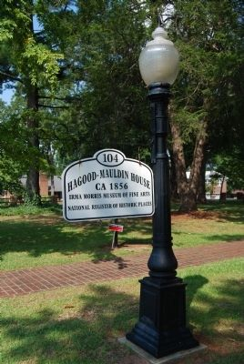 Light pole with the Hagood-Mauldin House National Register Sign image. Click for full size.