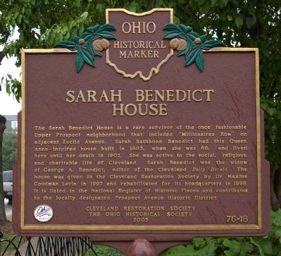 Sarah Benedict House Marker image. Click for full size.