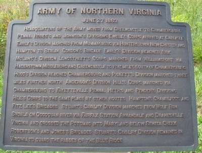 Army of Northern Virginia Tablet - June 27, 1863 image. Click for full size.