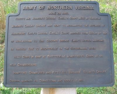 Army of Northern Virginia Tablet - June 28, 1863 image. Click for full size.