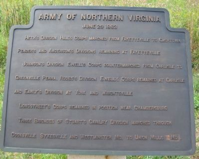 Army of Northern Virginia Tablet - June 29, 1863 image. Click for full size.