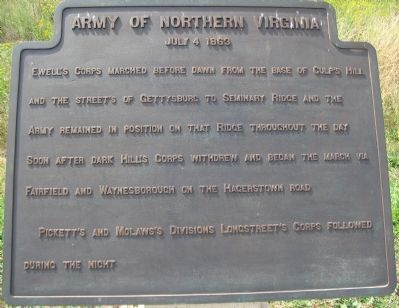 Army of Northern Virginia Tablet - July 4, 1863 image. Click for full size.