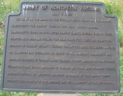 Army of Northern Virginia Tablet - July 5, 1863 image. Click for full size.