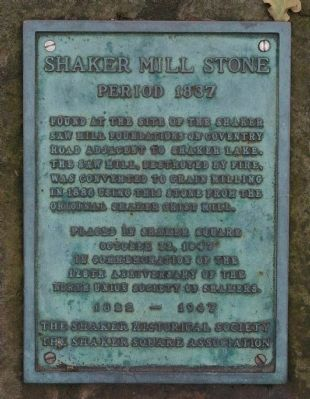 Shaker Mill Stone Marker image. Click for full size.