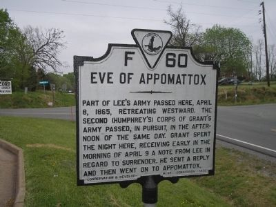 Eve of Appomattox Marker image. Click for full size.