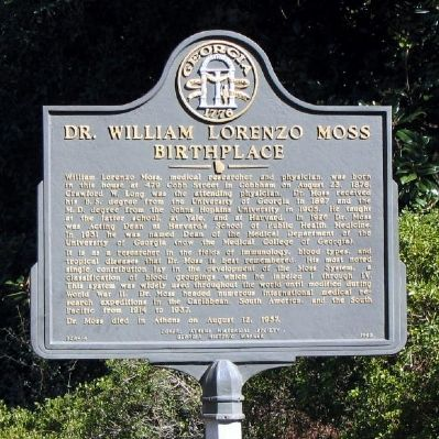 Dr. William Lorenzo Moss Birthplace Marker image. Click for full size.