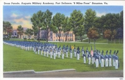 "Dress Parade, Augusta Military Academy, Fort Defiance, ""8 Miles From"" Staunton Va. image. Click for full size."