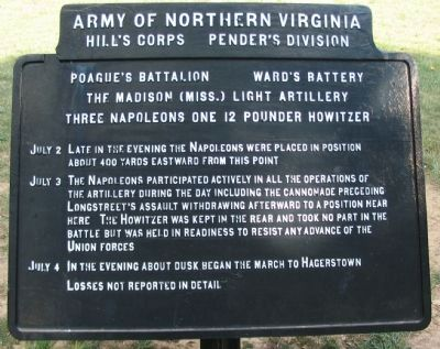 Poague's Battalion - Ward's Battery Tablet image. Click for full size.