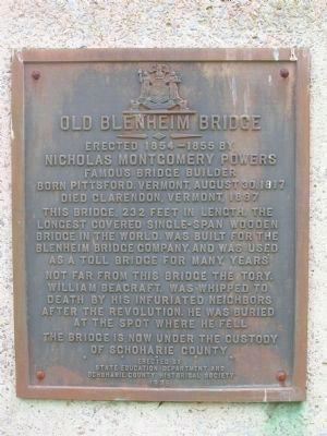 Old Blenheim Bridge Marker - North Blenheim, New York image. Click for full size.