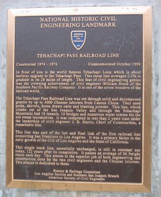 Tehachapi Pass Railroad Line Marker image. Click for full size.