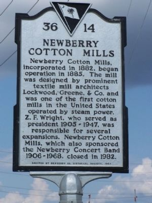 Newberry Cotton Mills Marker image. Click for full size.