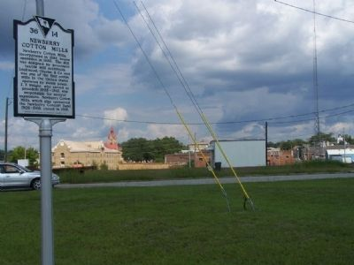 Newberry Cotton Mills Marker, looking back ( east) towards Tarrant Street image. Click for full size.