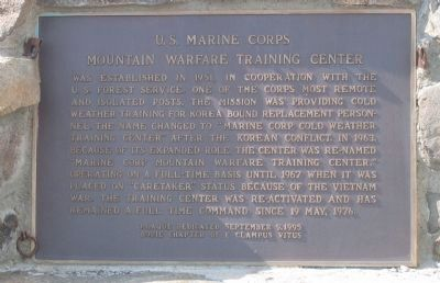 Mountain Warfare Training Center Marker image. Click for full size.