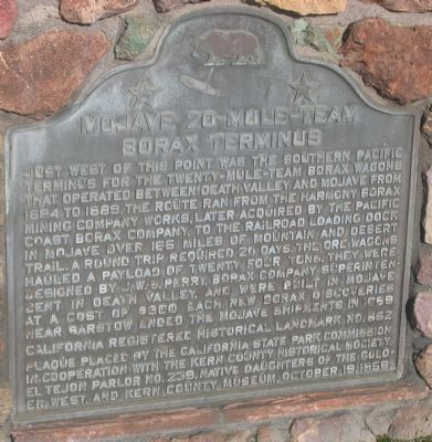 Mojave 20-Mule Team Borax Terminus Marker image. Click for full size.