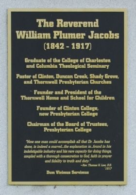 The Reverend William Plumer Jacobs Marker image. Click for full size.