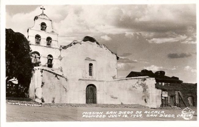 Mission San Diego de Alcala-Founded July 16, 1769, San Diego, Calif. image. Click for full size.