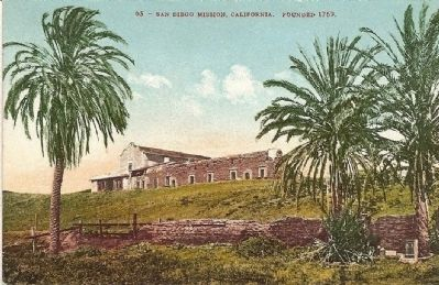 Vintage Postcard - San Diego Mission, California Founded 1769 image. Click for full size.