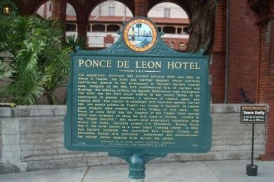 Ponce de Leon Hotel Marker, recently refurbished image. Click for full size.