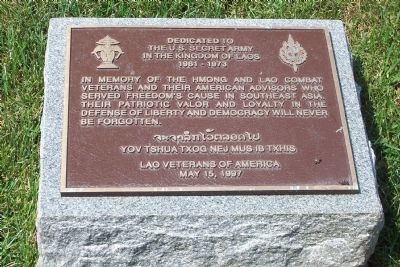 U.S. Secret Army in the Kingdom of Laos. Marker image. Click for full size.