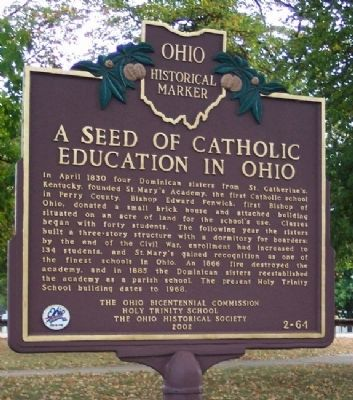 A Seed of Catholic Education in Ohio Marker image. Click for full size.