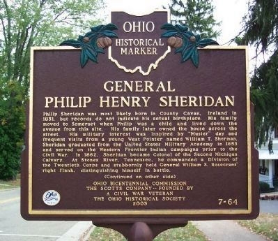 General Philip Henry Sheridan Marker (Side A) image. Click for full size.