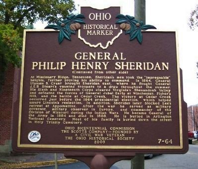 General Philip Henry Sheridan Marker (Side B) image. Click for full size.