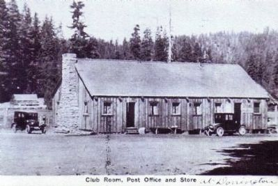 Vintage Postcard - Club Room, Post Office and Store image. Click for full size.