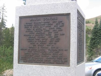 Major Donor Plaque Mounted on East Side of Monument image. Click for full size.