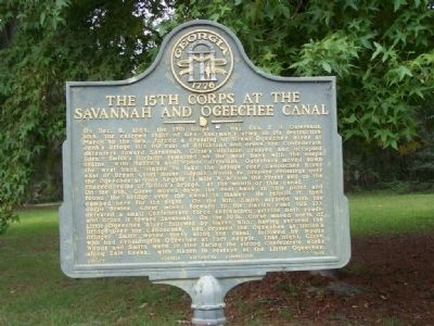 The 15th Corps at the Savannah and Ogeechee Canal Marker image. Click for full size.