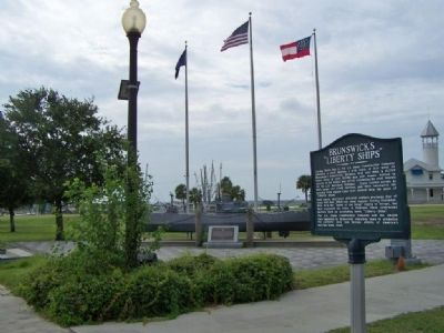 "Brunswick's ""Liberty Ships"" Marker near Brunswick WW II Memorial image. Click for full size."