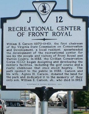 Recreational Center of Front Royal Marker image. Click for full size.