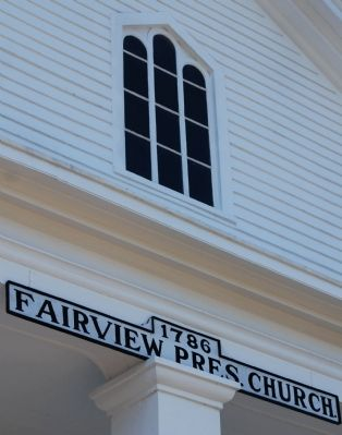 Fairview Church -<br>Detail of Upper Window and Sign image. Click for full size.
