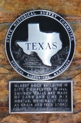 Oldest Rock Building in City Marker image. Click for full size.