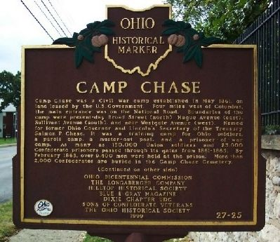 Camp Chase Marker (front) image. Click for full size.
