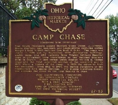 Camp Chase Marker (back) image. Click for full size.