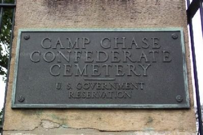Camp Chase Confederate Cemetery Marker at Entrance image. Click for full size.