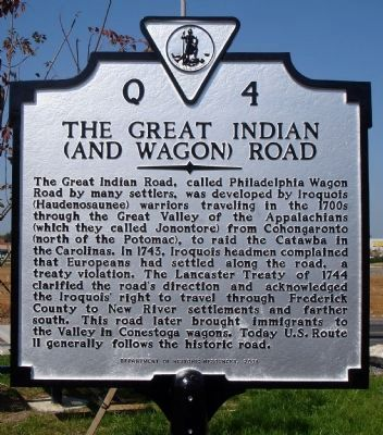 The Great Indian (and Wagon) Road Marker image. Click for full size.