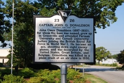 Donaldson Air Force Base / Captain John O. Donaldson Marker image. Click for full size.