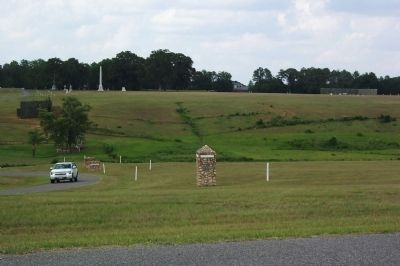 Monuments in Northwest Corner of Former Prison Stockade image. Click for full size.