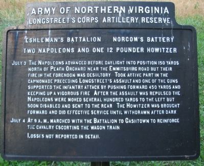 Eshleman's Battalion - Norcom's Battery Tablet image. Click for full size.