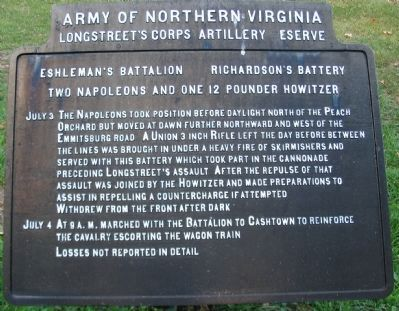 Eshleman's Battalion - Richardson's Battery Tablet image. Click for full size.