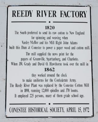 Reedy River Factory Marker image. Click for full size.