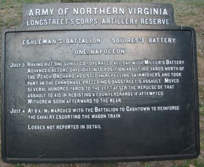 Eshleman's Battalion - Squires's Battery Tablet image. Click for full size.